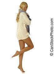 mulher, em, suéter
