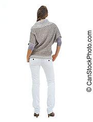 mulher, em, sweater., vista traseira