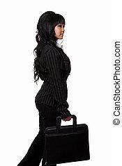 mulher, em, terno negócio