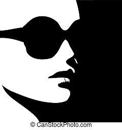 mulher, em, trendy, desgaste olho