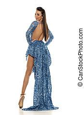 mulher, em, um, azul, vestido noite