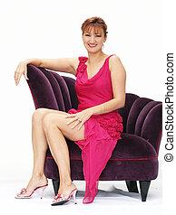 mulher, em, um, cadeira