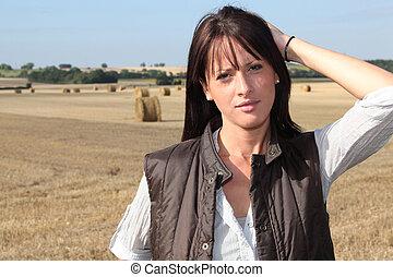 mulher, em, um, campo