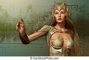 mulher, em, um, fantasia, armadura