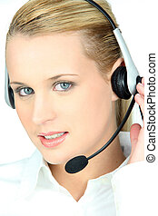 mulher, em, um, headset