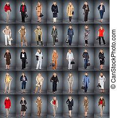 mulher, em, um, maduras, idade, em, diferente, roupas