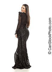 mulher, em, um, pretas, vestido noite