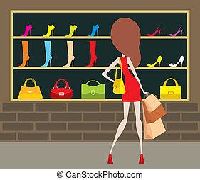 mulher, em, um, shop-front.