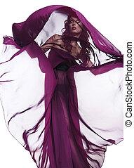 mulher, em, vestido roxo, voando, ligado, vento