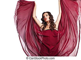 mulher, em, vestido vermelho, voando, ligado, vento, isolado