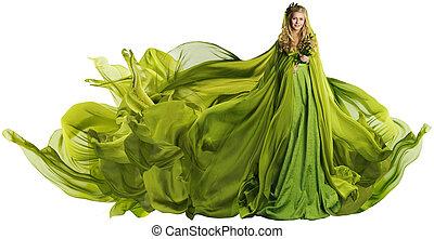 mulher, em, voando, vestido, tecido, modelo moda, em, verde, roupas, branca