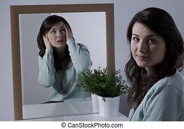mulher, emoções, escondendo