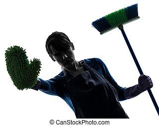 mulher, empregada, housework, brooming, gesto parada,...