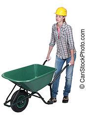 mulher, empurrar, vazio, carrinho de mão