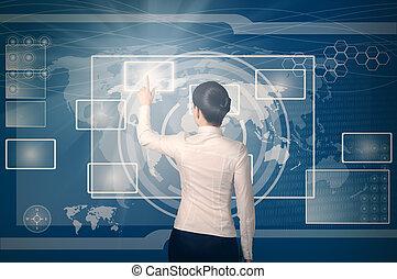 mulher, empurrar, virtual, botão, em, teia, interface