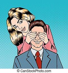 mulher, encerramento, dela, homem, eyes., mulher, surpresas, dela, boyfriend., feliz, par., estouro, art., vetorial, ilustração