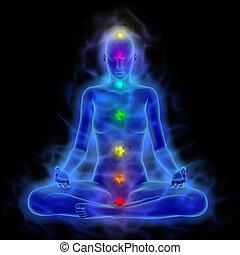 mulher, energia, corporal, aura, chakras, em, meditação