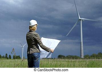 mulher, engenheiro, ou, arquiteta, com, branca, segurança, chapéu, e, turbinas vento, experiência