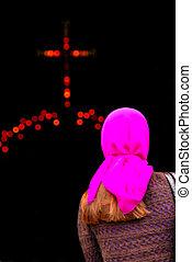 mulher, entrar, igreja