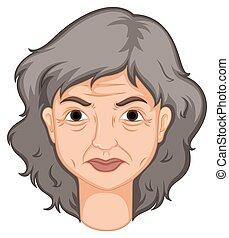 mulher, envelhecido, adulto, pele