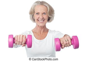 mulher, envelhecido, exercitar, feliz