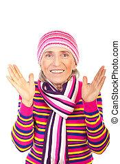 mulher, envelhecido, inverno, surpreendido