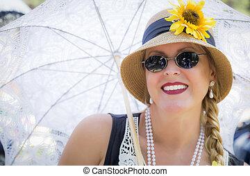 mulher, equipamento, anos vinte, atraente, segurando, parasol