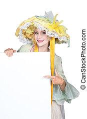 mulher, equipamento, pantomima