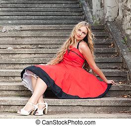 mulher, escadas, sentando
