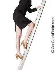 mulher, escalar uma escada