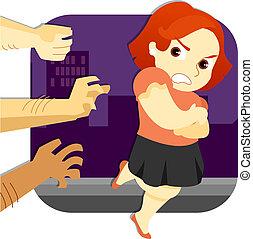 mulher, escapando, assault_stock