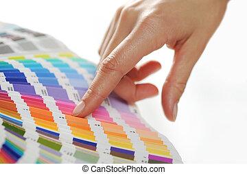 mulher, escolher, cor, de, cor, escala