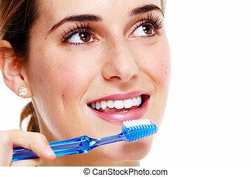 mulher, escovar, teeth.