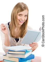 mulher, escreva, livro, adolescente, estudante, dever casa