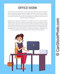 mulher, escritório, computador, local trabalho, bonito, digitando