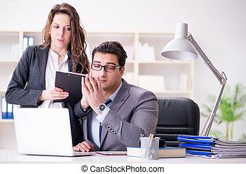 mulher, escritório, conceito, assédio, sexual, homem