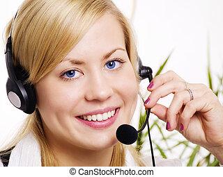 mulher, escritório, fone, closeup, loura, sorrindo