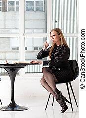 mulher, escritório