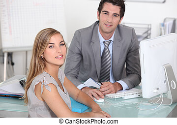 mulher, escritório, homem