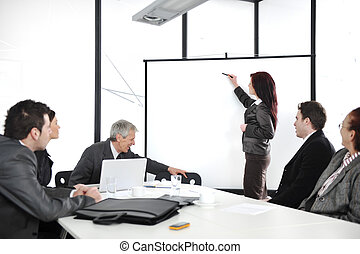 mulher, escritório, negócio, gráfico, whiteboard, durante,...