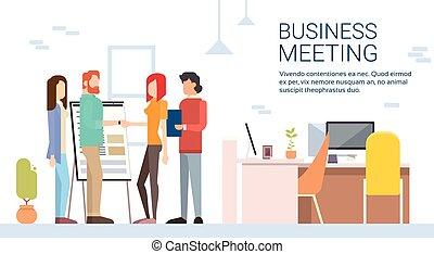 mulher, escritório, negócio, modernos, mão, coworking, abanar, casual, homem