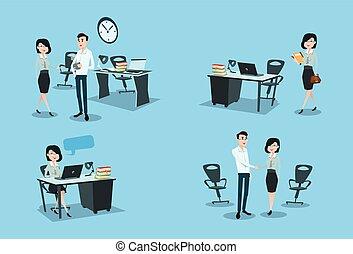 mulher, escritório, negócio, trabalhando, jogo, local...