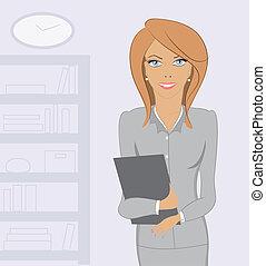 mulher, escritório, negócio