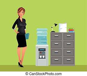 mulher, escritório, refrigerador, gabinete, água, breaktime...