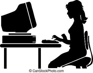 mulher, escrivaninha