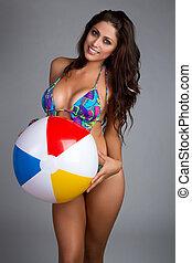 mulher, esfera praia