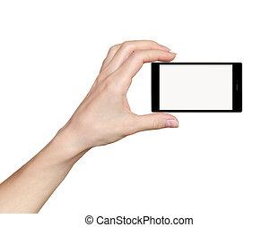 mulher, espaço, móvel, texto, tela, isolado, telefone, mão, experiência., segurando, toque, branca, seu, vazio