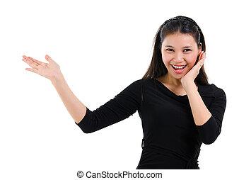 mulher, espaço, surpresas, mostrando, asiático, em branco