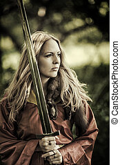 mulher, espada, excitado, ao ar livre, guerreira