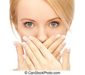 mulher espantada, com, ceda boca